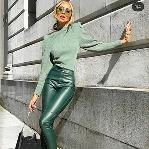 Zara faux leather leggings bloggers favorite